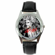 LADY GAGA BORN THIS WAY MUSIC STAR SINGER Steel BLACK LEATHER ROUND CD WATCH