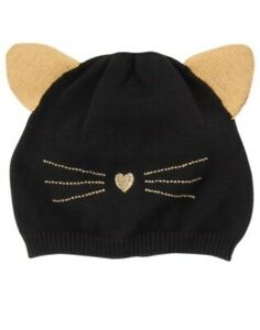 GYMBOREE TAILS OF THE CITY BLACK CAT FACE SWEATER BEANIE HAT 12 24 NWT