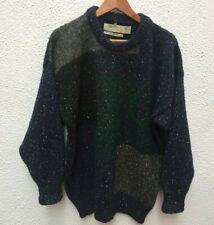 "Mans Wool 52"" Jumper Pullover Tweed Navy Black Green Grey Heritage L Sweater LG"