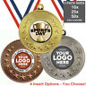 SPORTS DAY SCHOOL METAL MEDALS 50mm, PACK OF 10 RIBBONS INSERTS OWN LOGO & TEXT