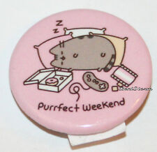 "Pusheen Facebook Cat Purrfect Weekend 1 1/4"" Pin Pinback Button Licensed NEW"