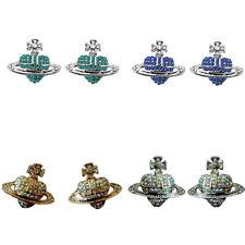 Gold Blue Silver Red Green Ufo Orbs Design Full of AB Rhienstones Women Earrings