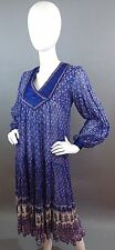 Vtg 70s Indian Gauze Sheer Dress Block Print Festival Boho Hippie Small