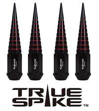 "20 TRUE SPIKE 112MM 9/16"" STEEL EXTENDED SPIRAL SPIKE LUG NUTS BLACK RED"