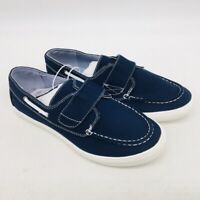 The Childrens Place Boys Boat Shoe Blue Moc Toe Hook And Loop Low Top 6 Y New