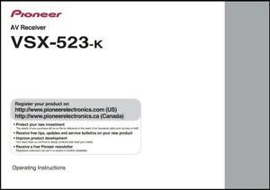 Pioneer VSX-523-K  AV Receiver  Owner's Manual - Operating Instructions