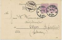 """DT.REICH """"LEIPZIG"""" K1 5 Pf violett GA-Postkarte m Zusatzfr in die Schweiz, 1889"""