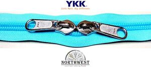 YKK Nylon Coil Zipper Tape # 10 Turquoise 10 yards with 10 Nickle Zipper Sliders