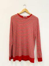 Designer T Alexander Wang Size M Red & Grey Stripe Linen Blend Knit Women's Top