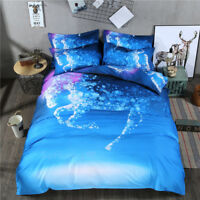 Blue Horse Quilt/Doona/Duvet Cover Set Single/Queen/King Size Bed Pillowcase