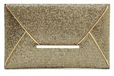 Women's Fashion Purse Clutch Gold Evening Envelope Style W/Pockets Hand Bag New