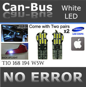 2 pair T10 Samsung 14 LED Chips Canbus White Fit Front Parking Light Lamps D605