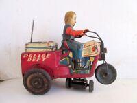 Vintage Old Rare KO Mark Wind Up Police Dept Tricycle Bike Litho Tin Toy Japan