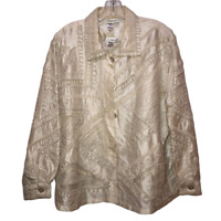 Coldwater Creek Womens Extra Large Ivory Shiny Embroidered Long Sleeve Jacket XL