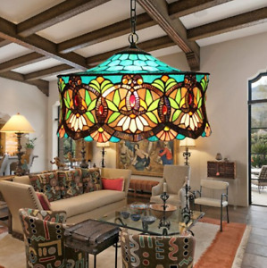 Vintage Tiffany Style Stained Glass Victorian Flush Mount Ceiling Light Fixture