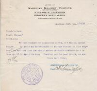 U.S. AMERICAN GROCERY COMPANY, Kansas 1911 Headed Paid Invoice Letter Ref 44328