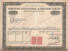 1981 India share certificate: Hindusthan Sanitaryware & Industries Limited