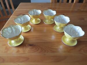 Set of 6 Maling Ware Yellow Lustre Sweet/Dessert Dishes
