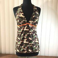 Bobbie Brooks Ladies 1X Tankini Swim Padded Halter Top Army Camo & Neon Orange