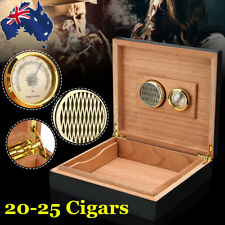 20-25 Count Cigar Humidor Humidifier Cedar Wooden Lined Case Box with Hygrometer