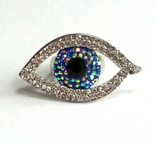 Butler and Wilson Crystal Enamel LARGE Eye Ring ONE SIZE NEW