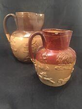 Antique Doulton Lambeth Ware Stoneware Jugs Hunting Scenes
