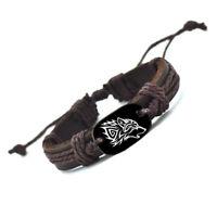 Stark Howling Wolf Head Vegan Leather Adjustable Bracelet Free Shipping USA