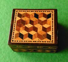 Tunbridge Ware Stamp Box. Tumbling Cube & Mosaic Design.