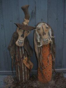 Primitive MORTIMER and MORTISHA Halloween SKELETON DOLLS Pattern