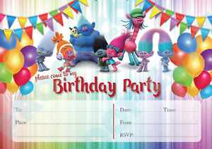 #78 THE TROLLS Pack of 10 kids children birthday party INVITATIONS