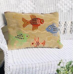 Vintage Handmade Oriental Fish Art Deco Wool Rug Throw Pillow Cover & Insert