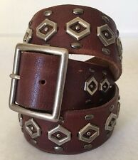 Leather Belt Women's Sz M Hollister Brown Studded Silver Over 1.5in Wide