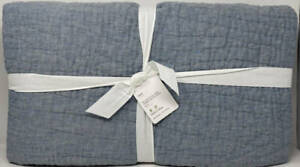 Pottery Barn Belgian Flax Linen Handstitched TWIN Quilt ~ Chambray Blue
