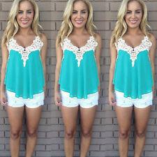 Womens Summer Vest Crochet Lace Sleeveless Blouse LadiesTank Tops T-Shirts Tee