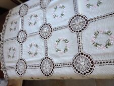 "72"" Round Handmade Crochet Lace Tablecloth  COLOR BEIGE 100 % COTTON -"