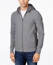 Michael Kors Quilted Drawstring Hooded Jacket Grey Mens Medium New