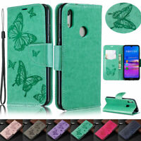 Butterfly Wallet Leather Flip Case Cover For Huawei Y7 2019 Y6 2018 P30 P20 Lite