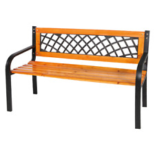 Gurzia bench in metal and wooden slats 118x50x75 cm bench for garden