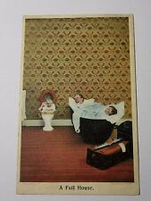 "K591 - 1907 ""A FULL HOUSE"" Baby in the Toilet EARLY BAMFORTH POSTCARD"