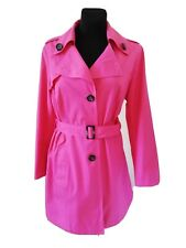 Details about M&S Trench Coat UK 18 Jacket Pink Cerise Belted Mac Long Fuschia Bnwots