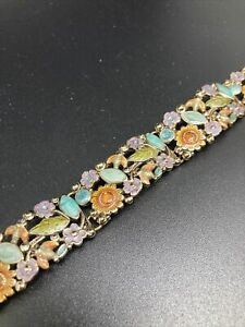 Vintage Jewelry Liz Claiborne Signed LC Bracelet Multi-Colored Flowers 2559