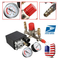US Air Compressor Pressure Switch Control Manifold Regulator Valve Gauges Relief