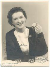 Lina TYBER Chanteuse Photographie dédicacée à Albert FLAMAND Bijoutier des Stars