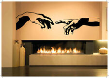 Wall Vinyl Art Sticker Two Hands Creation Of Adam Michelangelo Decor Decal hi207