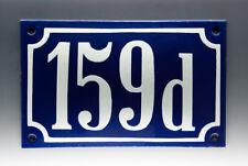 EMAILLE, EMAIL-HAUSNUMMER 159d in BLAU/WEISS um 1955