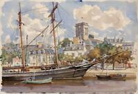 BOATS IN PORT LANNION FRANCE Watercolour Painting c1920 IMPRESSIONIST