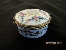 Vtg Limoges Trinket Ring Box Floral Garland Gilt Brass Mounted France Hand Paint