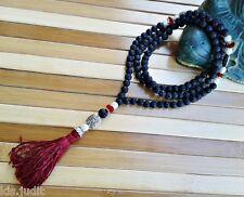 Collana Mala Rosario 108+1 in pietra lavica con cristalli rossi e perle -  Nepal