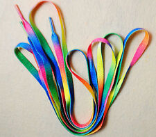 "Rainbow Color Canvas Athletic Shoelace Shoe Laces  Free Shipping 47"" USA Seller"