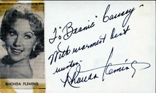 RHONDA FLEMING (FILM & TELEVISION ACTRESS) SIGNATURE ON CARD BN4273